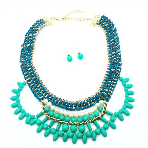 Teal-ightful Statement Necklace & Stud Earrings