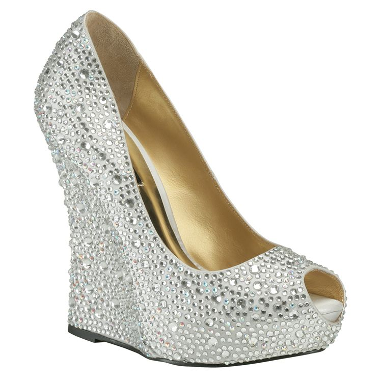 Benjamin Adams Cali Silver Wedge Evening Shoes - Wedding Shoes ...