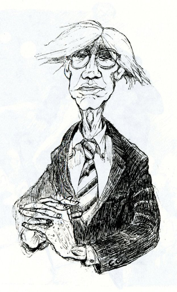 """Tom Wolfe drawing of Andy Warhol, from """"Tom Wolfe's Lesser Known Career as a Cartoonist""""""""Tom Wolfe, who died on May 14, had a lesser-known but not-so-secret passion: He loved to draw caricatures and cartoons with the same incisive, sarcastic wit..."""