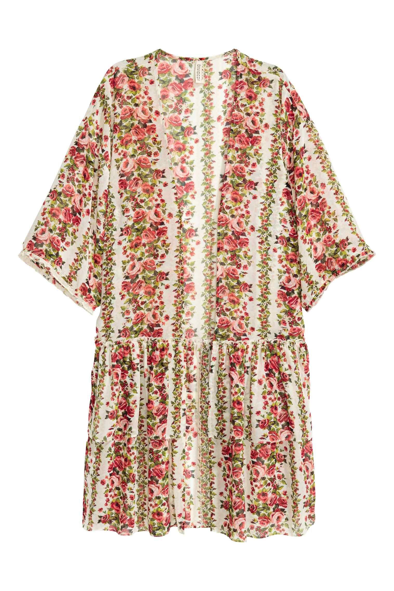 Kimono met dessin: Een kimono van fijne, geweven kwaliteit met een geprint  dessin.
