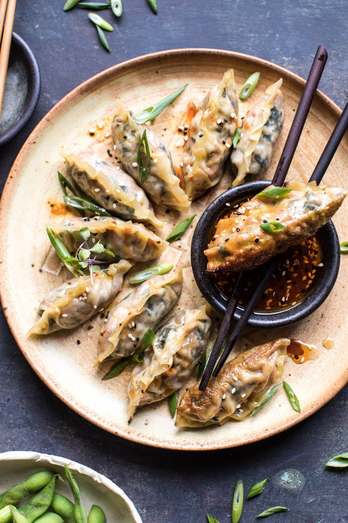 Homemade Vegetable Potstickers With Toasted Sesame Honey Soy Sauce Half Baked Harvest Recipe In 2020 Potstickers Healthy Recipes Honey Soy