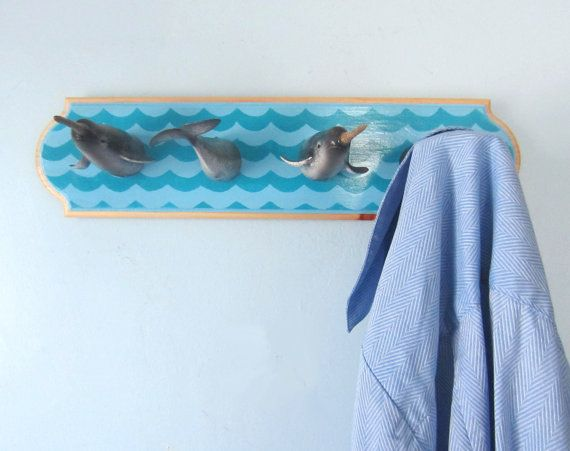 Upcycled Toy Wall Peg Rack With Narwhal Clothes Hooks Etsy Narwhal Ocean Lover Ocean Nursery