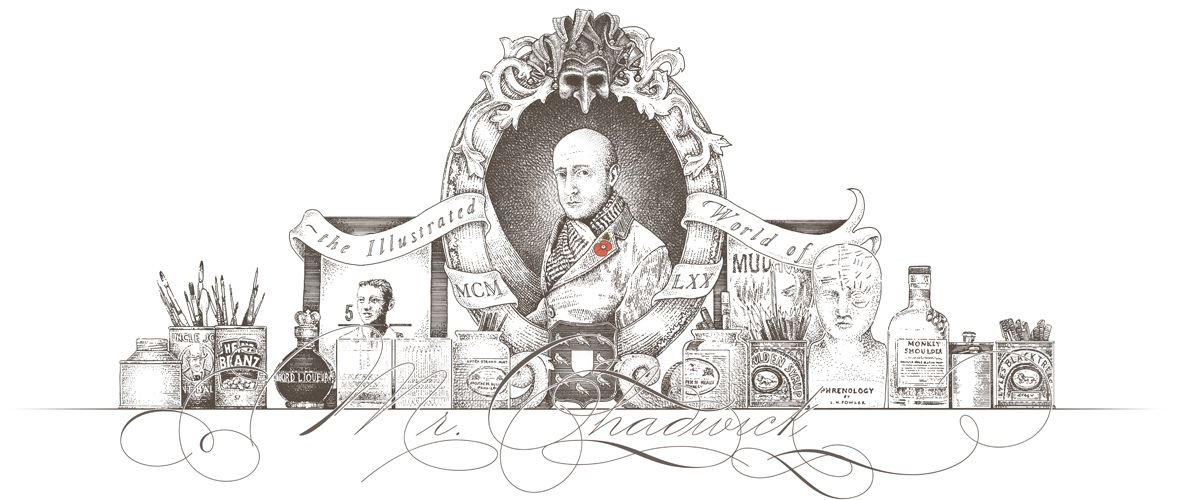 Seasonal (Remembrance Day) variation of the Mr.Chadwick web page masthead, traditional engraving style illustration.