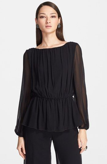 St. John Collection Crinkle Silk Georgette Peplum Blouse available at #Nordstrom