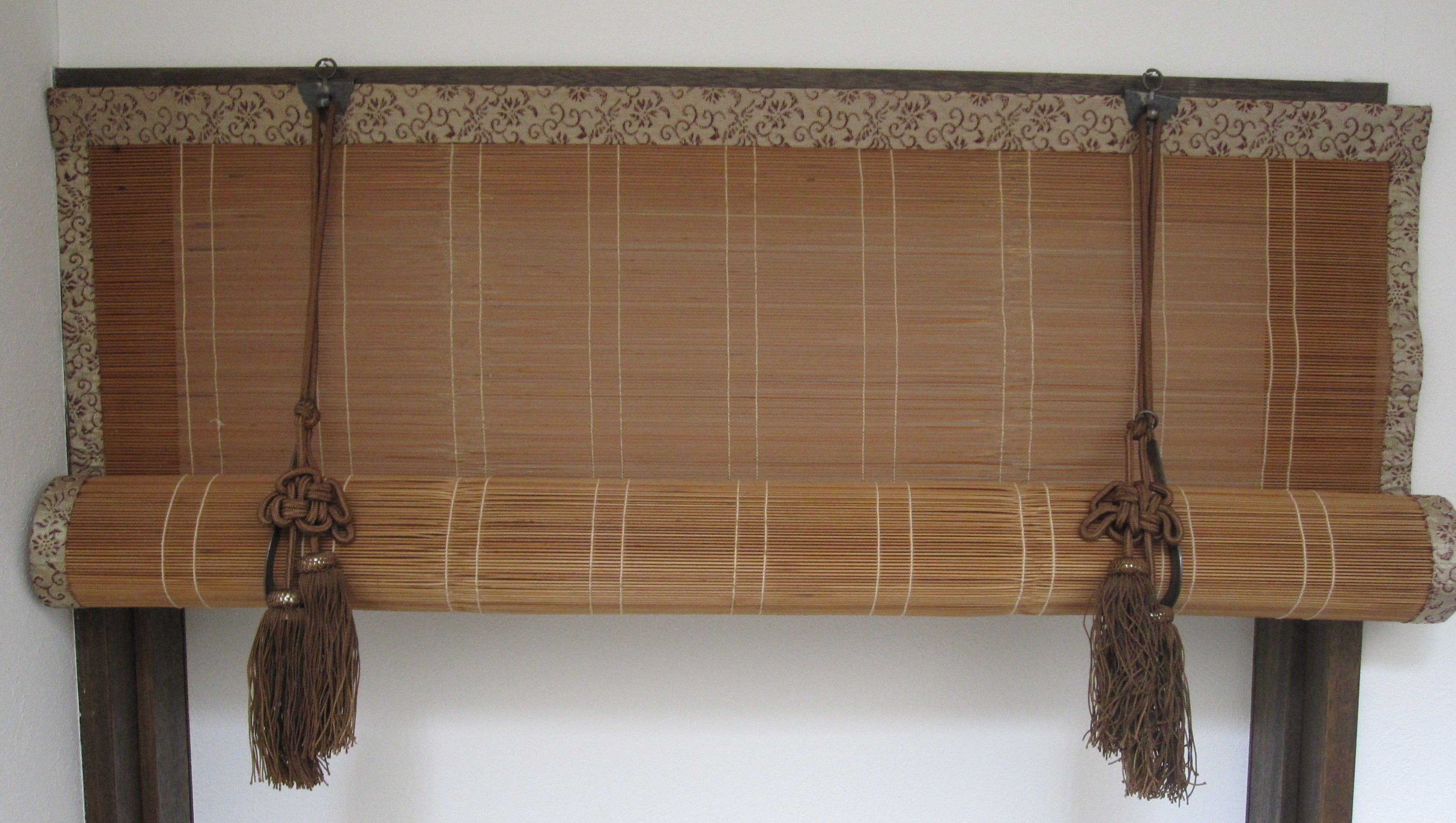Hung on oil rubbed bronze curtain rod with bamboo roman shades - Sudare Bamboo Blinds