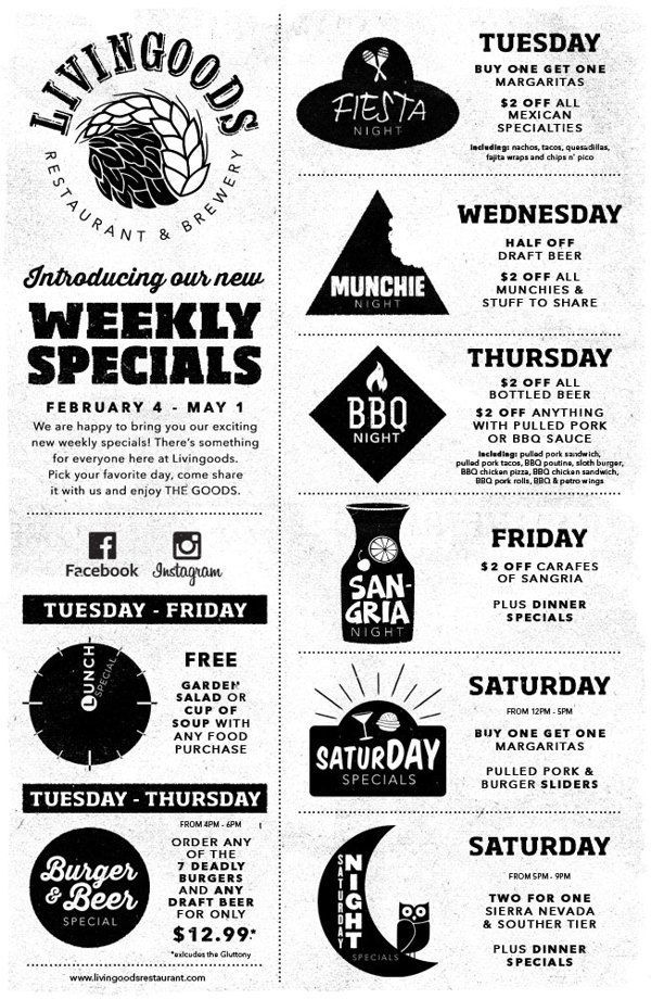 Image result for weekly specials menu Last stop Pinterest - restaurant checklist template