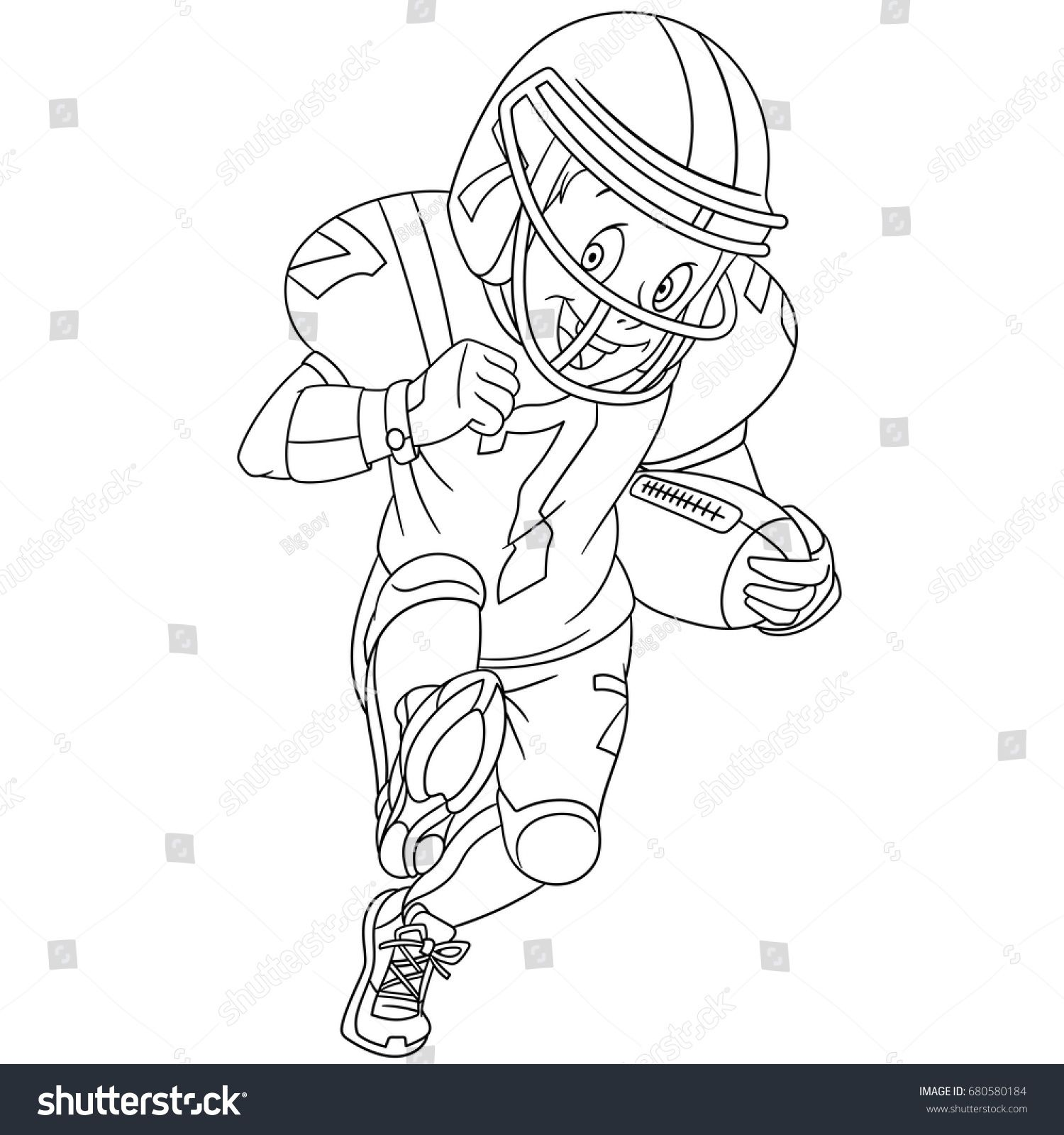 Coloring page of boy playing rugby american football Colouring