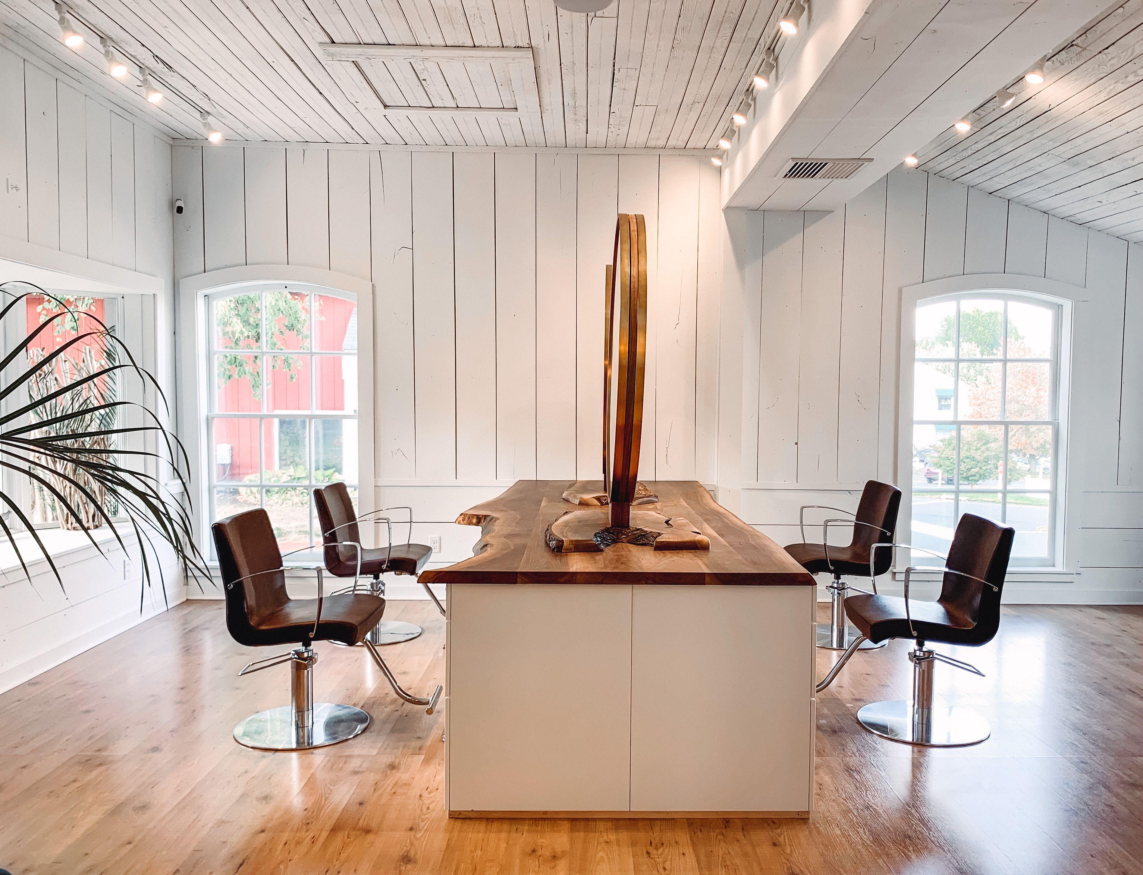 OPAL salon in Avon, CT Beach vibes, white interior, with all custom black walnut. Escape reality #whitesalon #beachvibes #salondecor #salon #modern #minimalistic #hairsalon #salondesign #design #interiordesign #liveedge #woodslab #liveedge #blackwalnut #opal #opalsalon #saloninterior