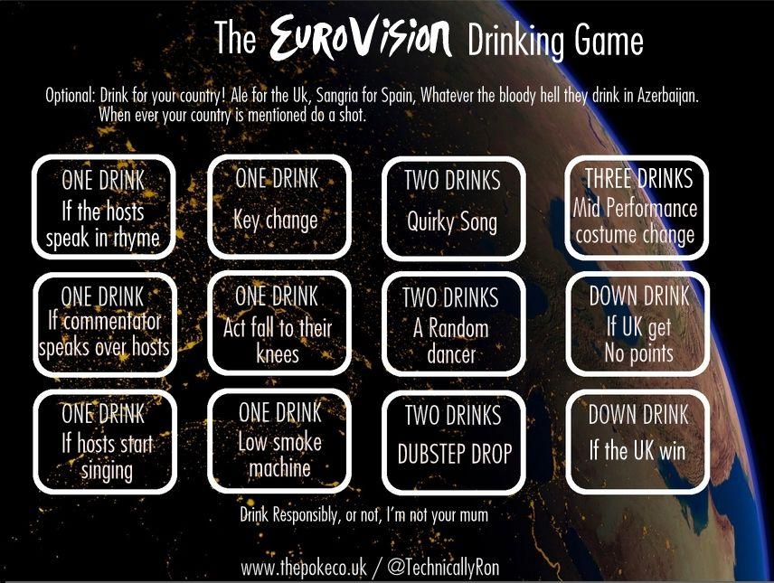 The Eurovision Drinking Game The Poke 3 Pinterest