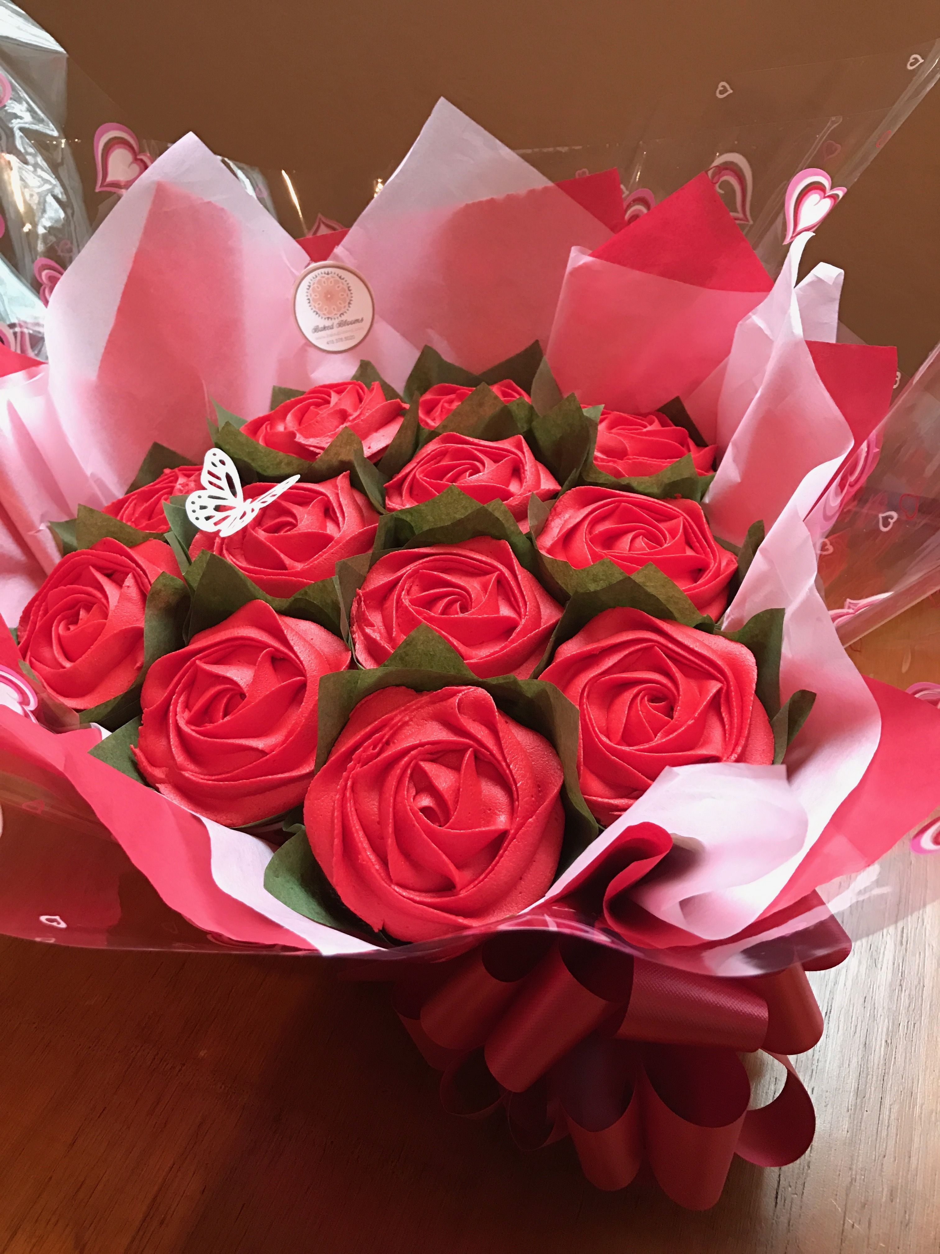 Dozen red roses cupcake bouquet for Valentine's Day www.bakedblooms.com