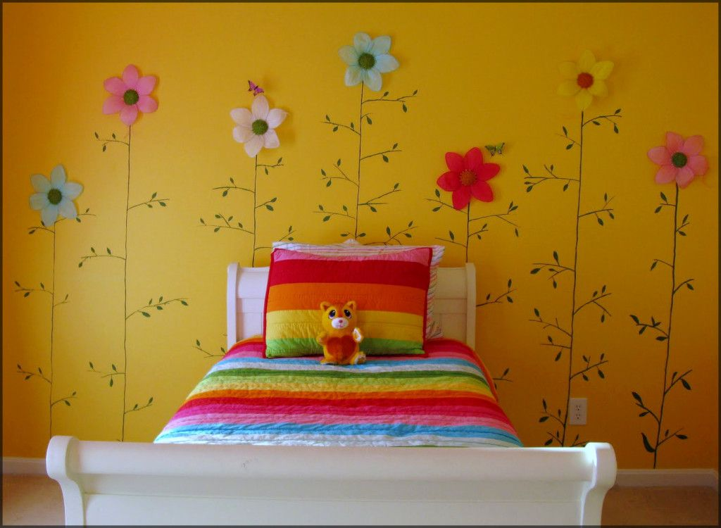 Beautiful wall designs flower themes with yellow color schemes for ...