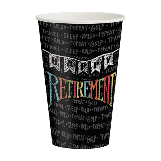 Item PS-375977 - Retirement Chalk 12 oz Hot/Cold Cups - Party Supplies