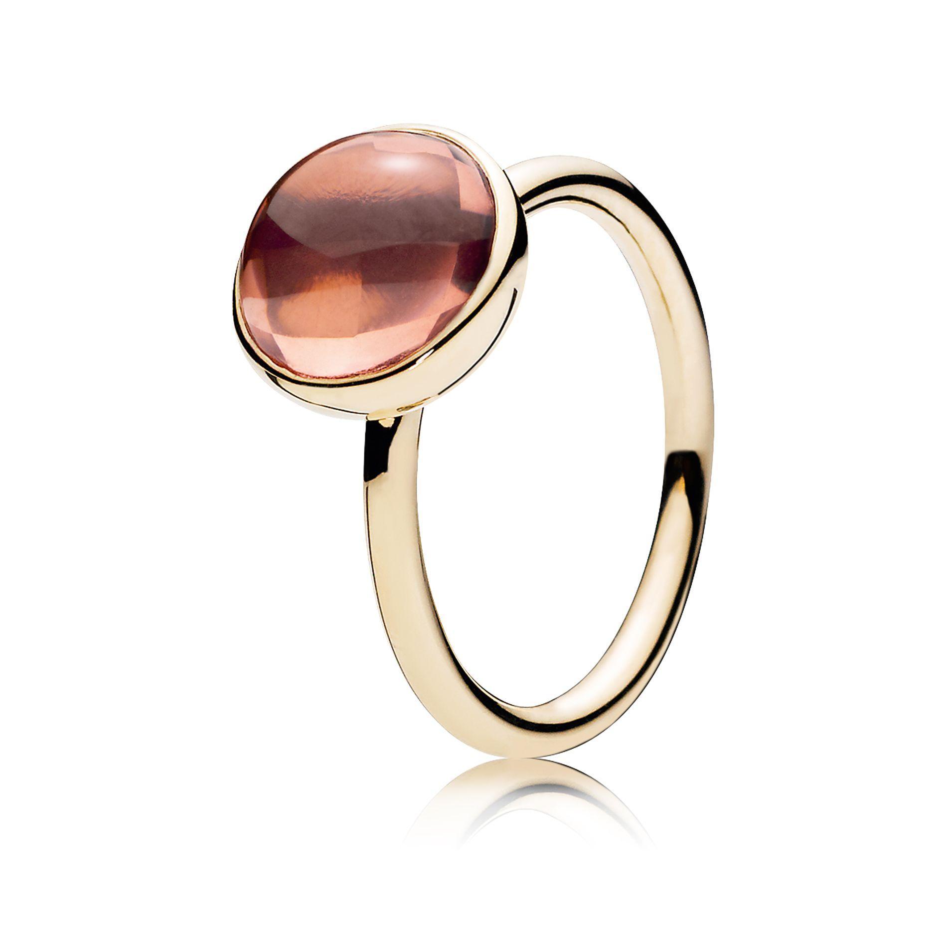"""PANDORA """"Poetic Droplet"""" Ring, 14K Gold, Blush Pink"""