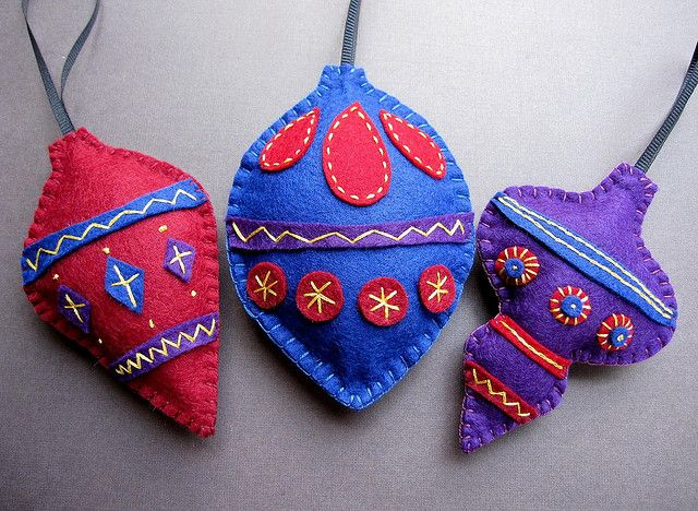 Trio of Holiday Baubles - felt ornaments by soleilgirl, via Flickr