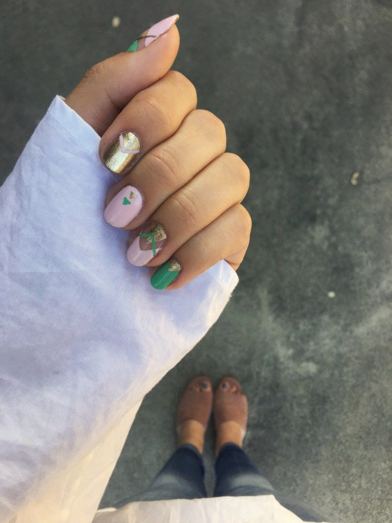 Mint, Blush, and Gold Nail Art | Gold nail, Negative space and Gold ...