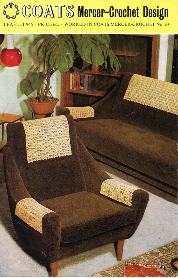 Vintage Crochet Pattern 1960s Antimacassars Crochet Chair Arm Covers