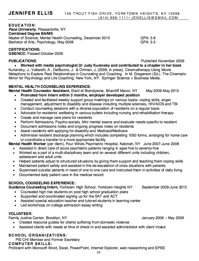 Mental Health Worker Resume resumesdesignmental – Sample Resume for Mental Health Counselor
