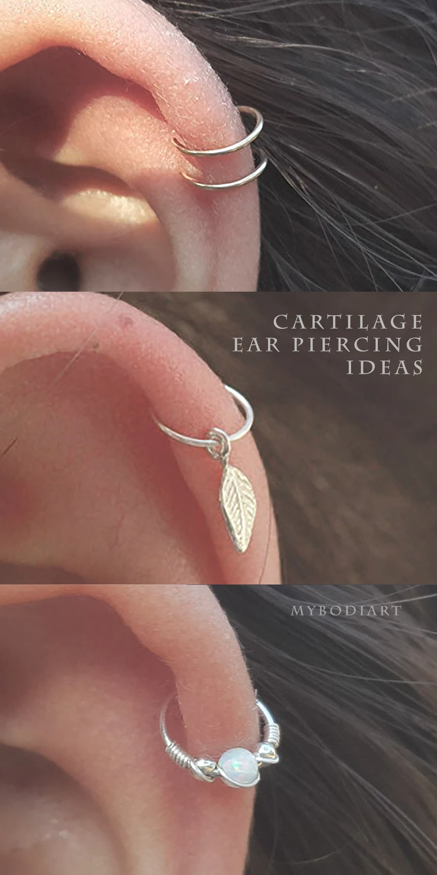 Simple Minimal Cartilage Helix Ear Piercing Jewelry Opal Hoop Earring