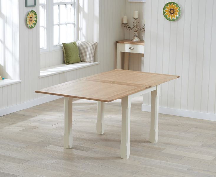 Stupendous Somerset 90Cm Flip Top Oak And Cream Dining Table With Tolix Dailytribune Chair Design For Home Dailytribuneorg
