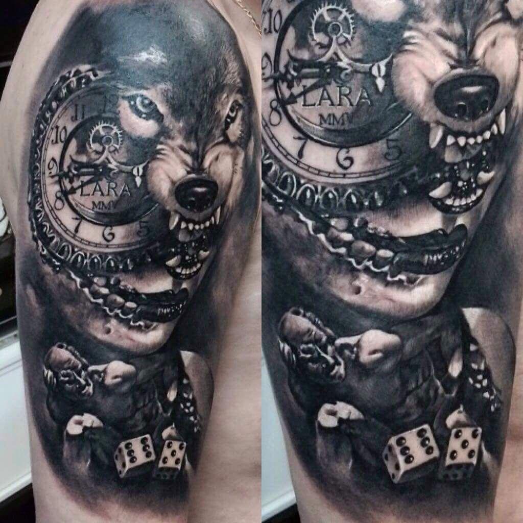 Wolf Woman Tattoo By Sergey Shanko: #tattoo #lobo #wolf #relógio #clock #watch #woman