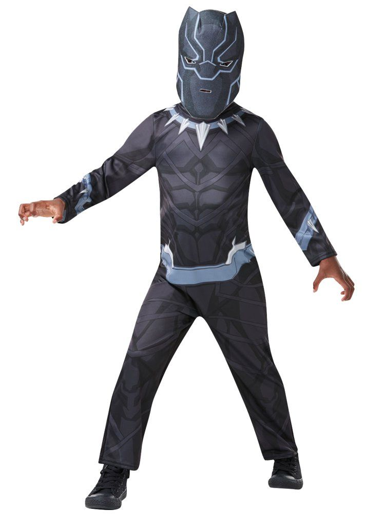Boys Black Panther Marvel Superhero Kids Fancy Dress up Costume Jumpsuits Mask
