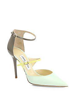 jimmy choo typhoon bicolor leather ankle strap pumps shop at saks rh pinterest co uk