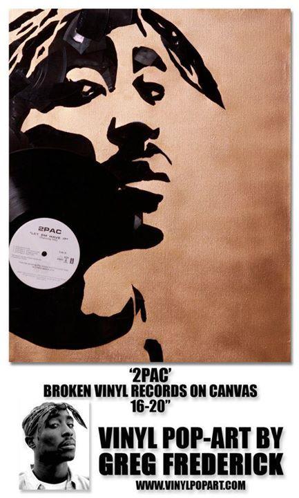 Vinyl Pop Art by Greg Frederick Tupac Vinyl Records on Canvas - vinylboden f r k che