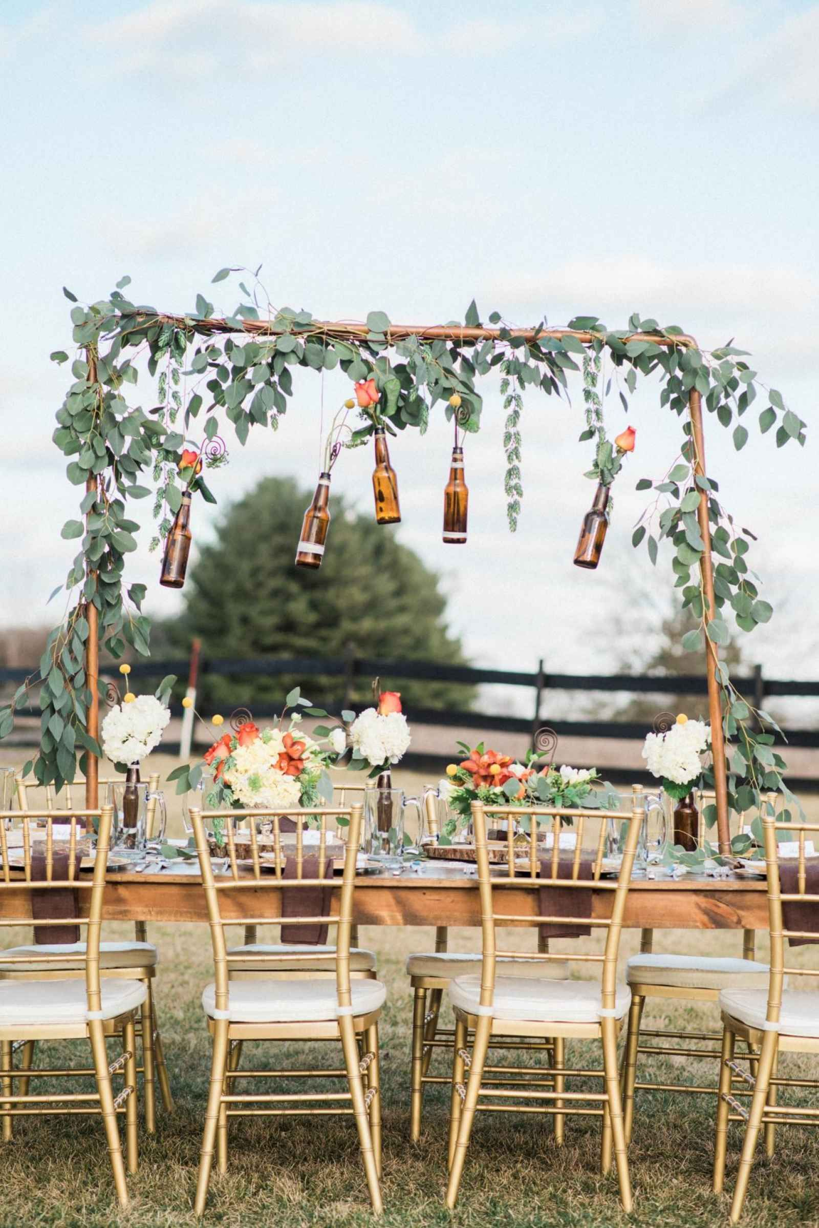Christian wedding decoration designs  Outdoor Michigan elopement wedding  A Bohemian Craft Beer Style