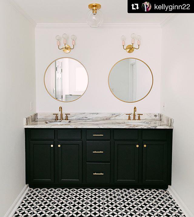 "Photo of Riad Tile on Instagram: ""Holy Bathroom Batman !!! Love our Circulos Black cement tiles in this @ kellyginn22 bathroom. Lights from @ sazerac_stitches… """