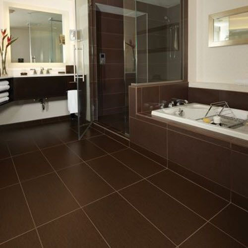Dark Brown Tile Bathroom Floor