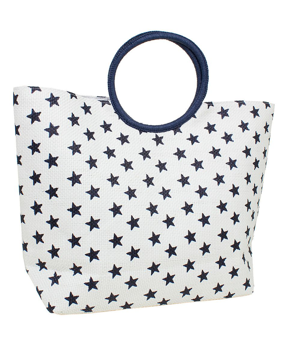 Magid White & Blue Star Round-Handle Tote by Magid #zulily #zulilyfinds