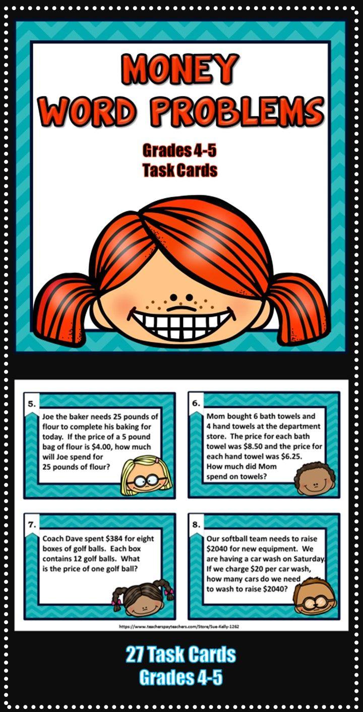 Money Word Problems Grades 4 5 Money Word Problems Word Problems Math Challenge [ 1411 x 720 Pixel ]