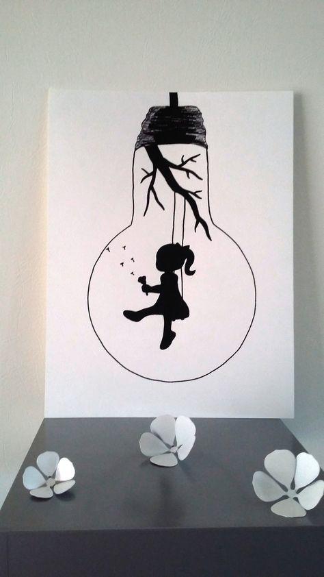 affiche illustration noir et blanc ampoule envole moi. Black Bedroom Furniture Sets. Home Design Ideas