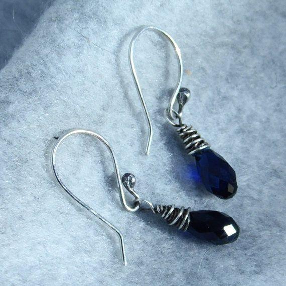 Wire Wrapped Sapphire Blue Swarovski Briolette Earrings by gbjewel