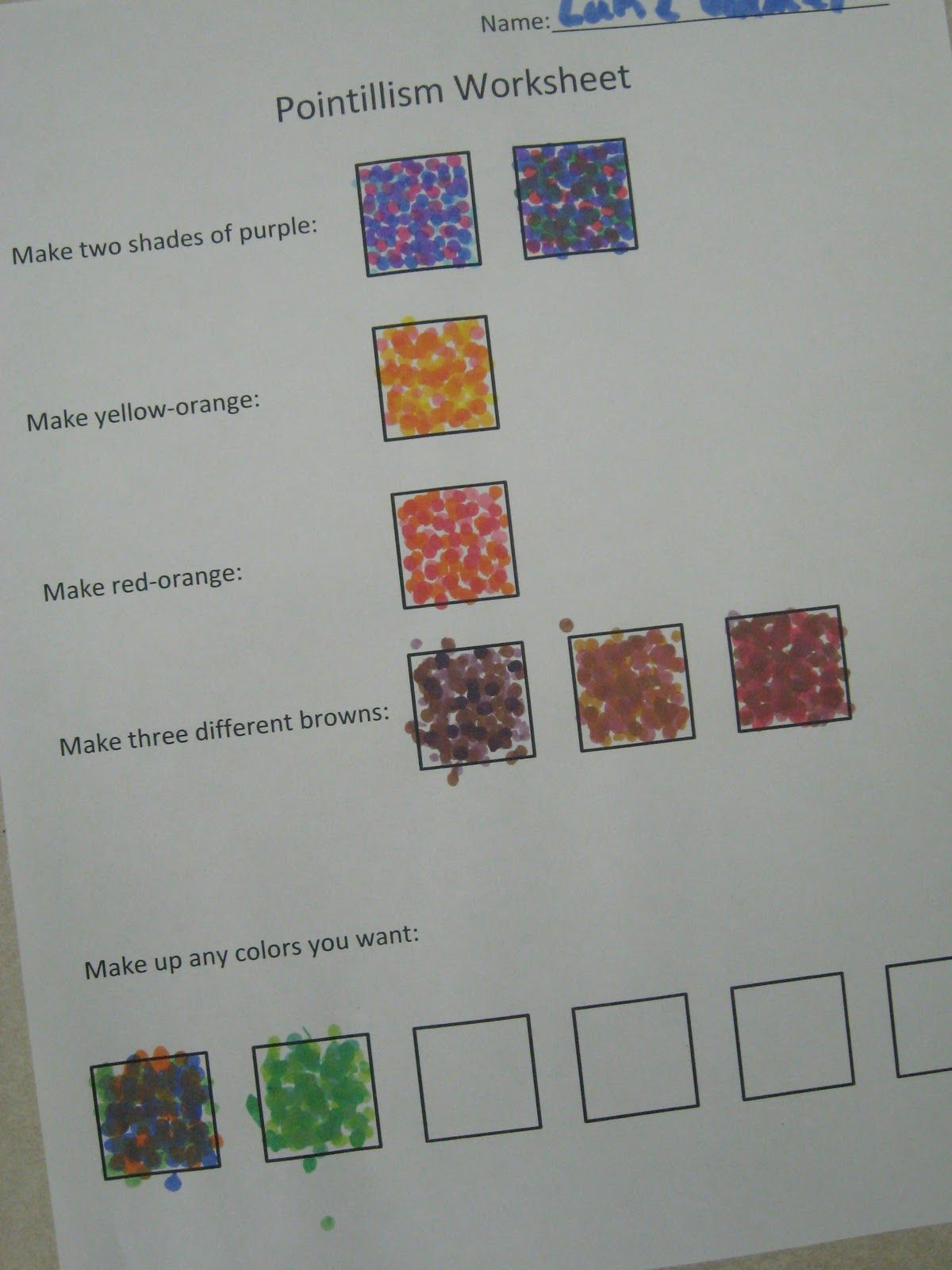 Pointiliism Worksheet Making Color Blends Then
