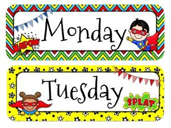 Superhero Themed Calendar Headers l Months and Days of the Week ...