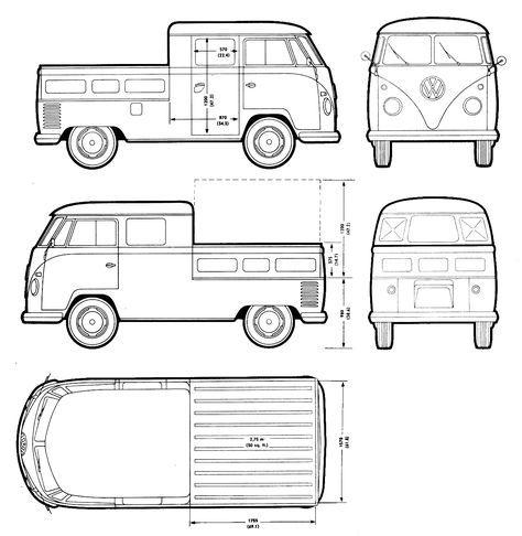 Volkswagen Transporter T2 blueprint Bussen t2 dokacrewcab