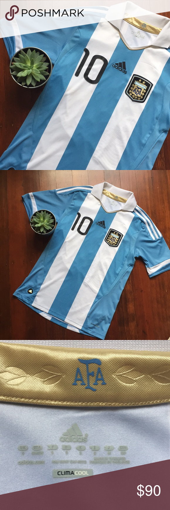 the latest 5e6ae c6946 Adidas Argentina AFA Messi 10 Soccer Polo This is a used ...