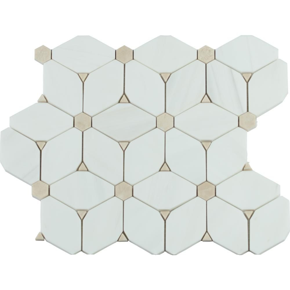 Msi Cecily 11 In X 13 In X 10mm Polished Marble Mesh Mounted Mosaic Tile 0 95 Sq Ft Cecily Pol10mm The Mosaic Tiles Marble Mosaic Tiles Mosaic Flooring