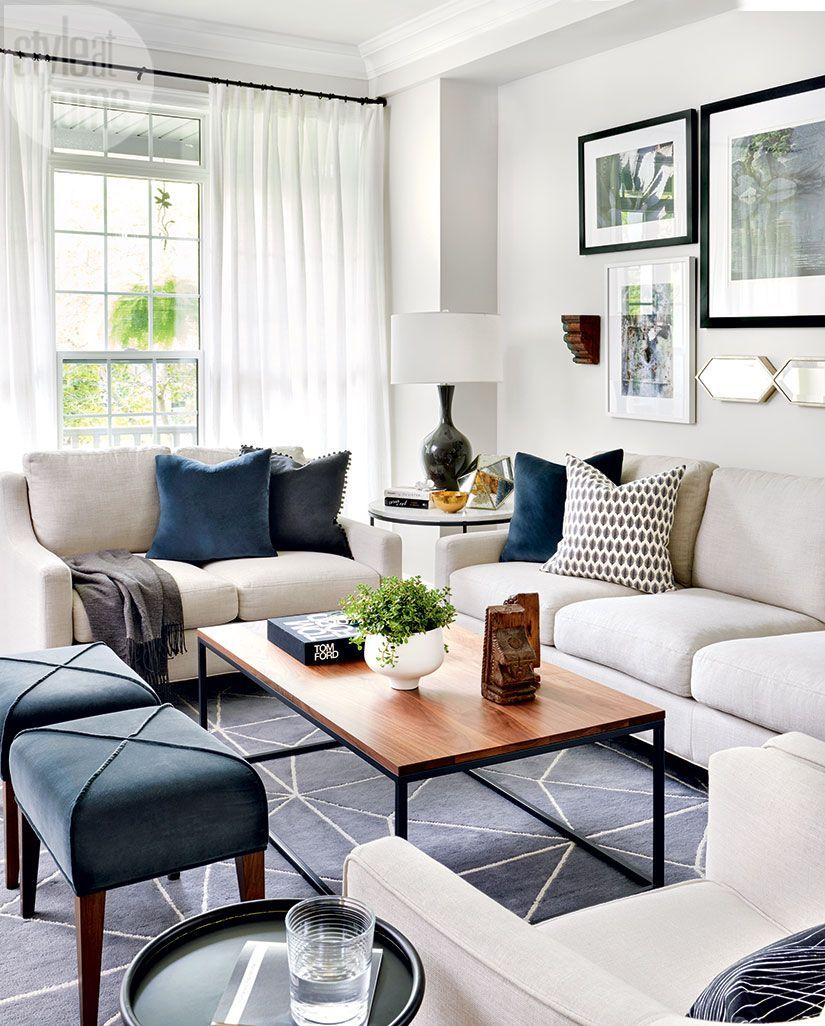 Comfy Seating, Small Ottomans And White Drapery. White Living Room  FurnitureWhite Living RoomsModern ...