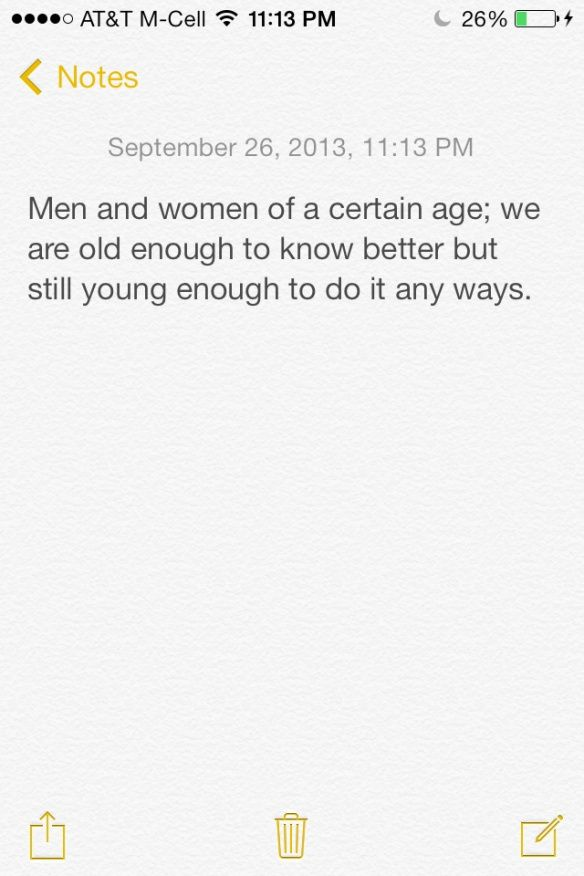 Men and Women of a certain age...