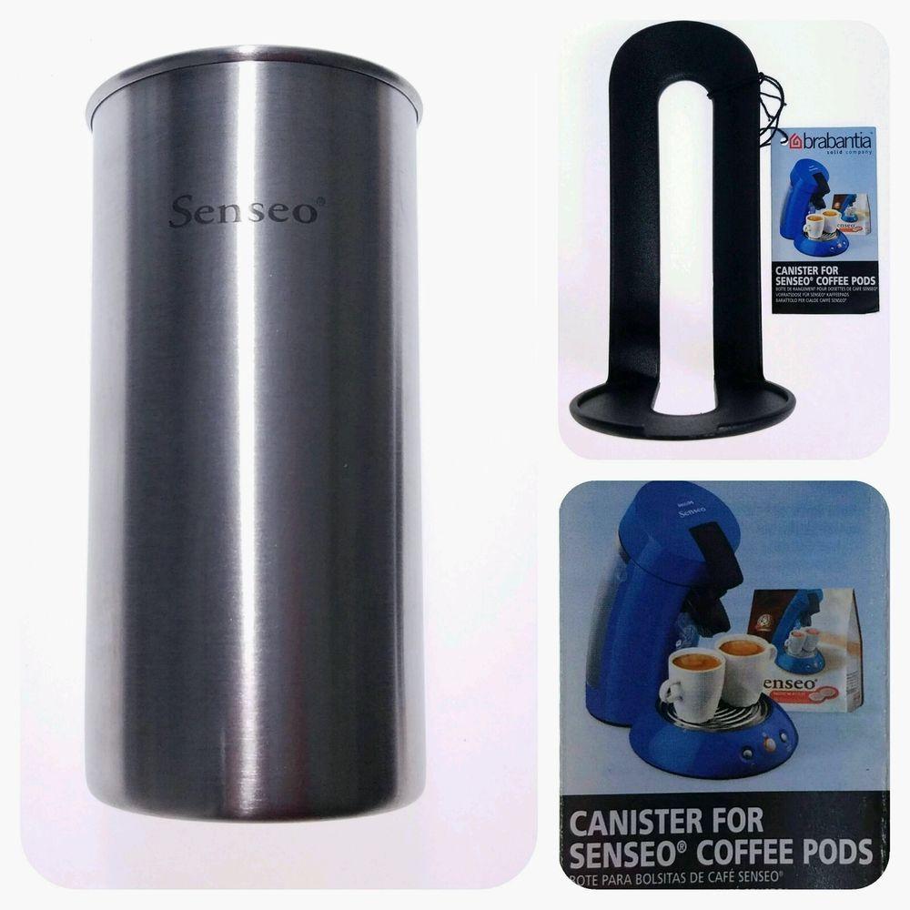 NEW Brabantia Stainless Steel Senseo Pod Canister Clear Lid Coffee Tea Storage #Brabantia