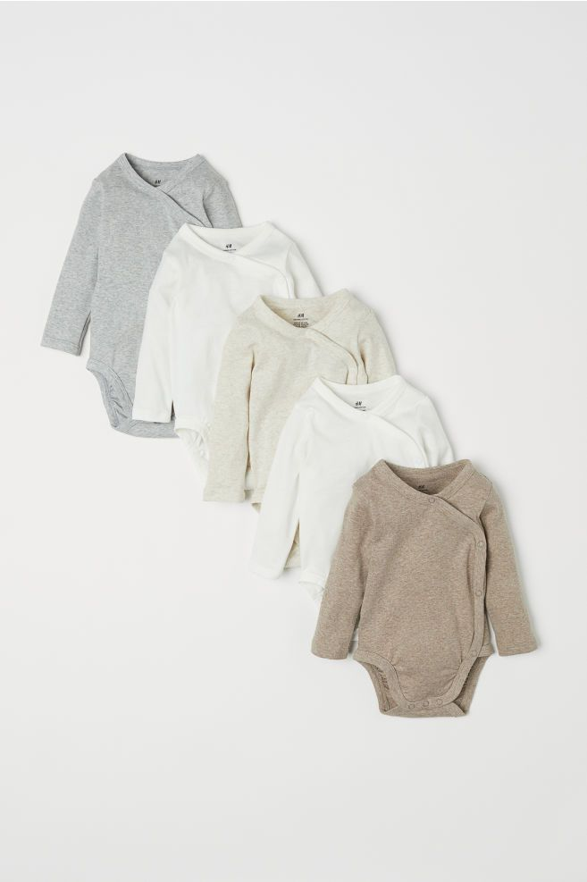 5 Pack Wrapover Bodysuits Natural White Kids H M Us 1 With Images Affordable Baby Clothes Gender Neutral Baby Clothes Gender Neutral Baby Clothes Newborns