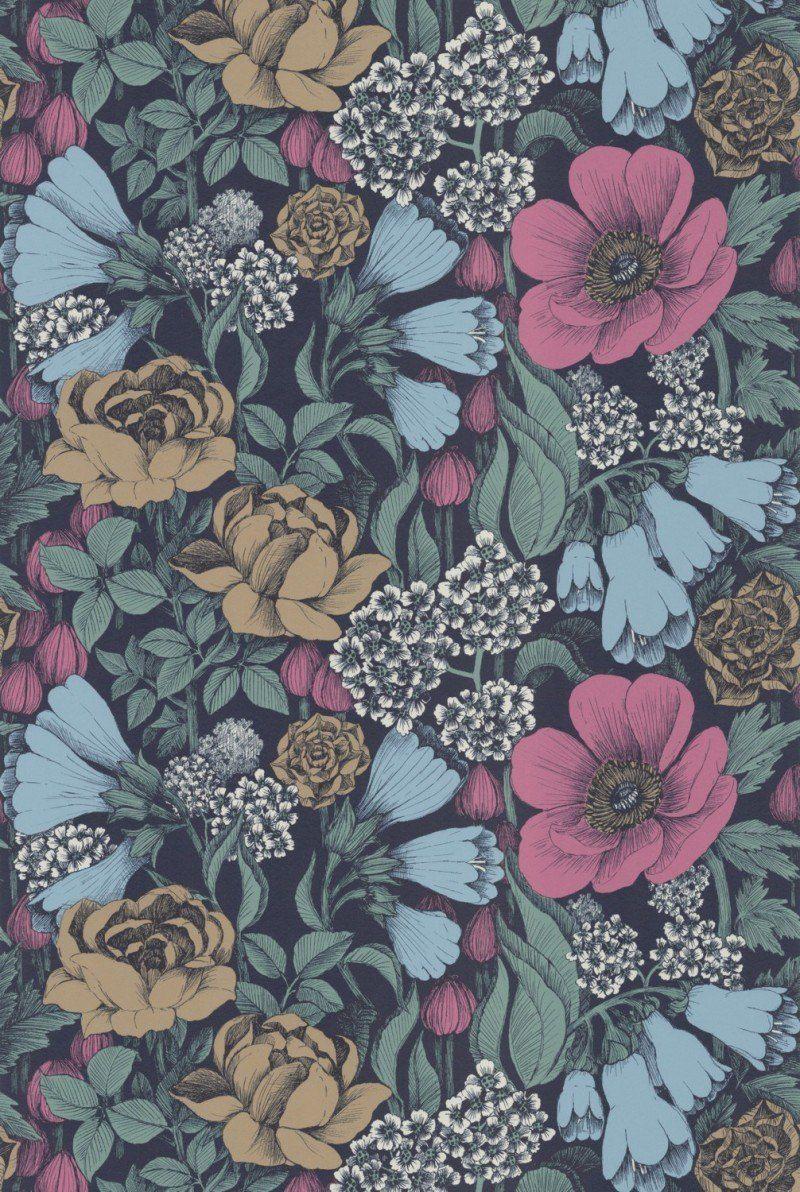 Tapete Oodi col.12 | FT89256-2 | Blumen Tapeten in den Farben rosa - lila - blau - braun -weiß | Grundton dunkelblau