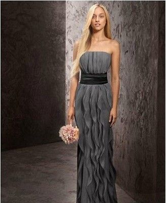 bbb43a5d95b Davids Bridal Vera Wang Strapless Crinkle Chiffon Dress with Mikado Sash  Style - in CASSIS color