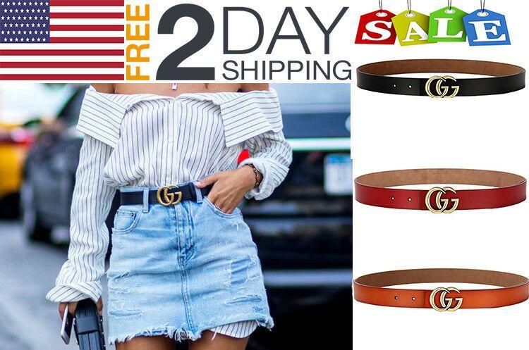 Women G-Style Gold Buckle Leather Slim Belt Pattern Jeans free shipping