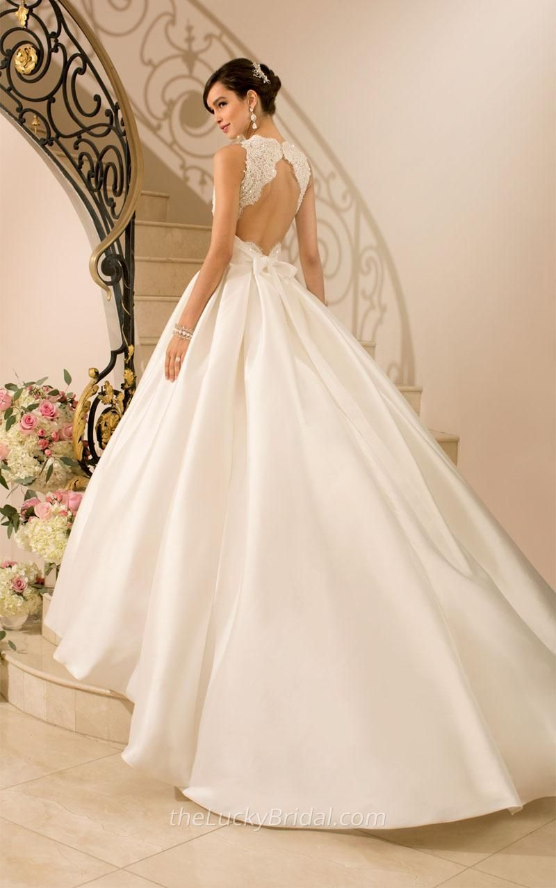 Wedding dress lace over satin