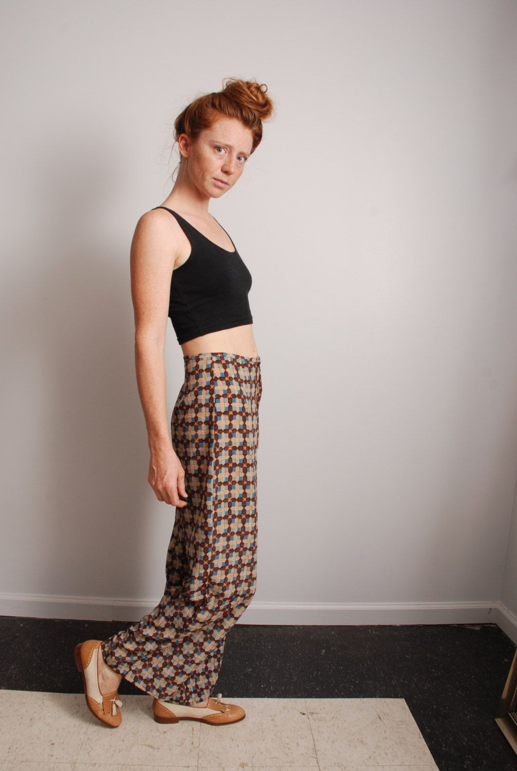 90s small medium wide leg palazzo pant high waisted brown and blue flower art print fashion pants womens vintage clothing by furhatguild on Etsy