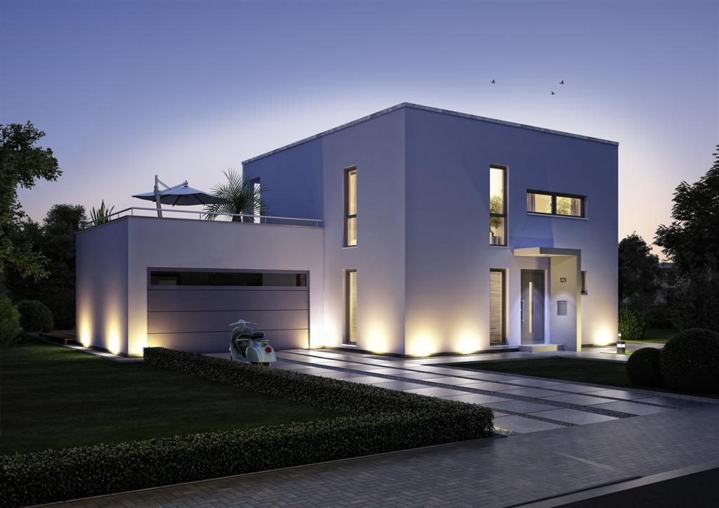 modern house style exterior garage door long windows modern front door pathway uplighting