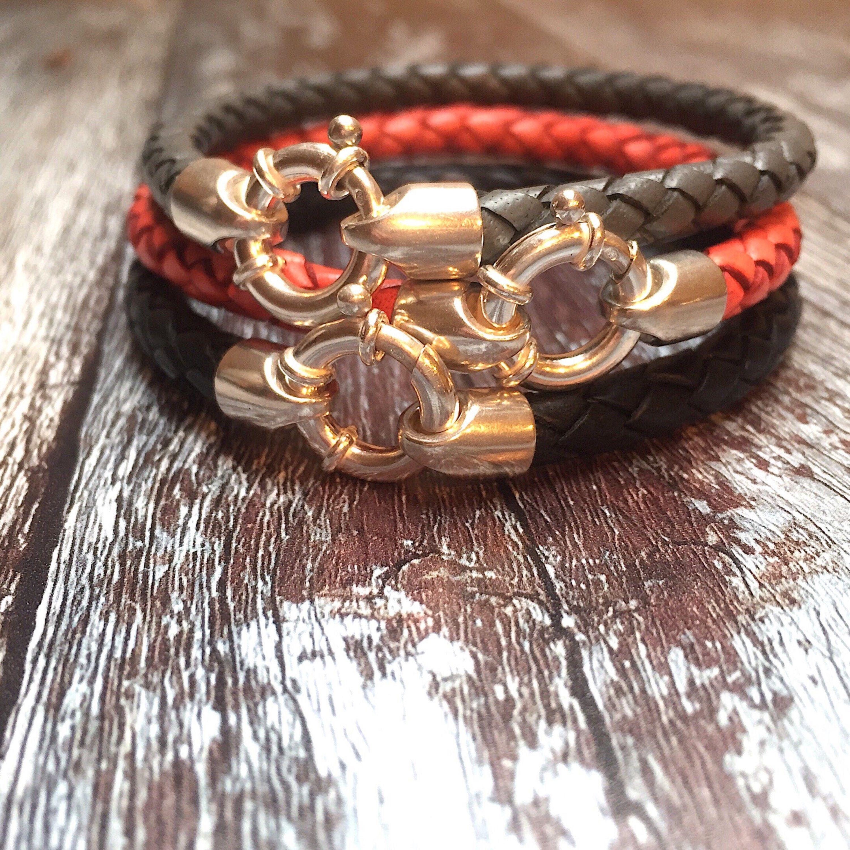 Leather mens bracelet sterling silver bracelet menus bracelet
